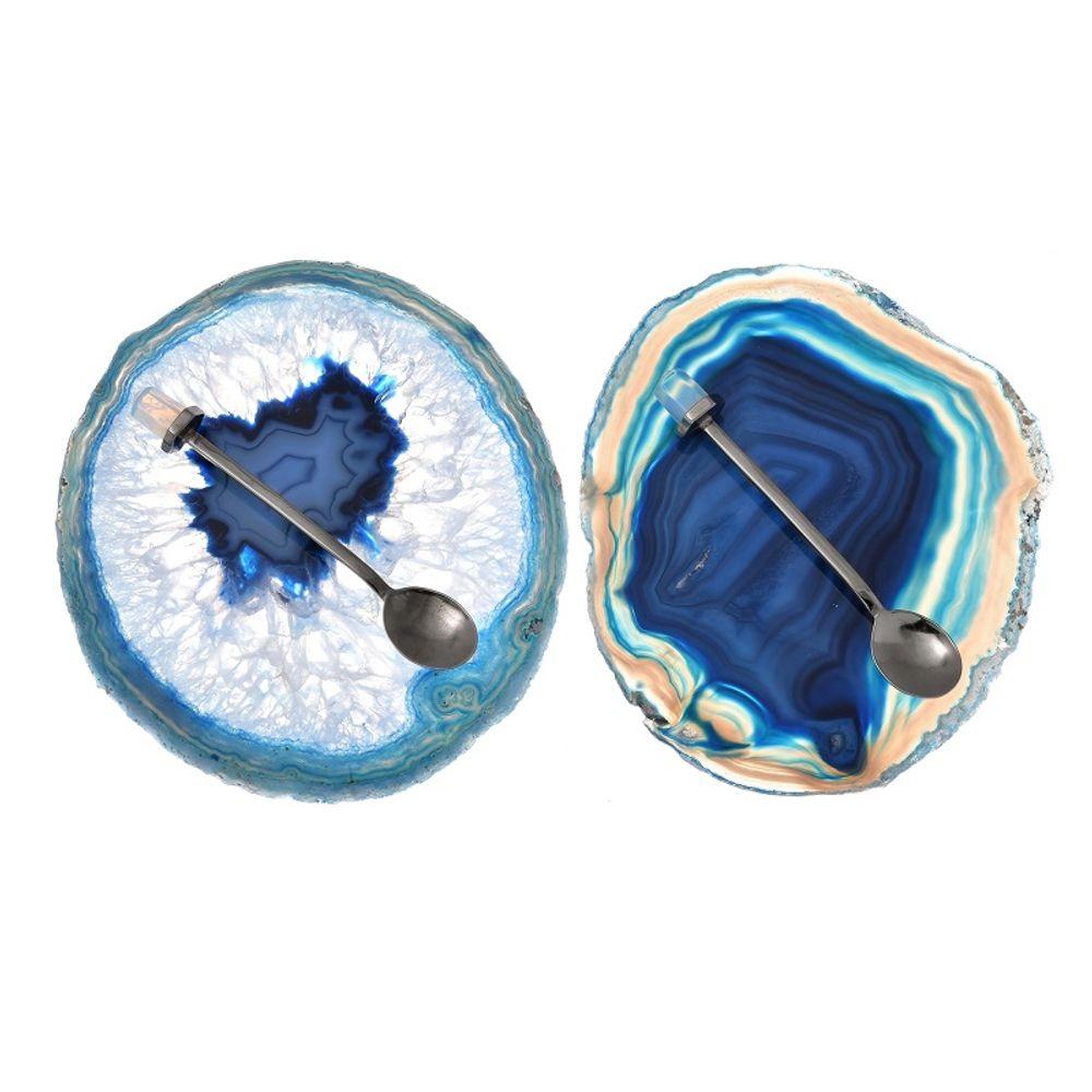 Conjunto Dupla Pires e Colher - Ágata azul